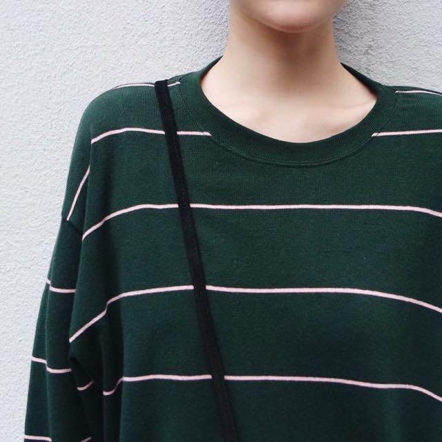 綠粉條紋長袖衣