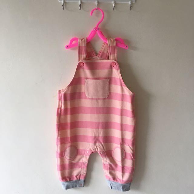 全新粉色條紋吊帶褲