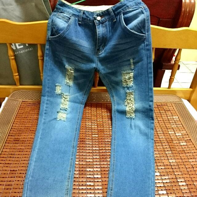 (男款)刷破牛仔褲