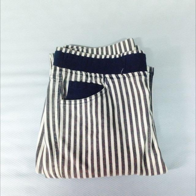 (代售)藍條紋長褲