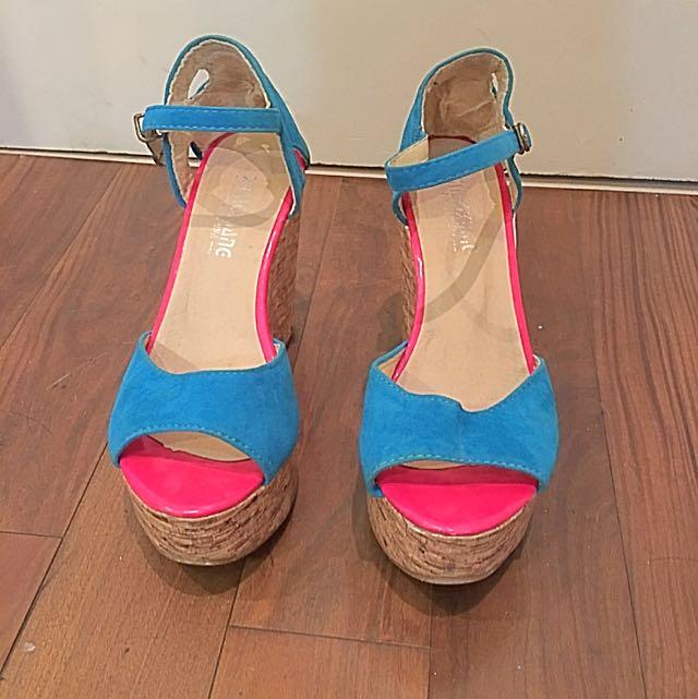 藍色魚口楔型鞋