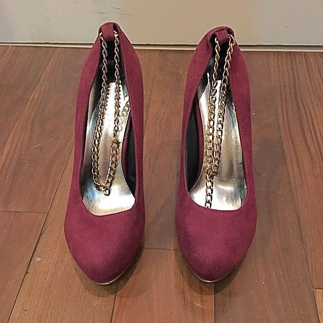酒紅色 麂皮 厚底 高跟鞋