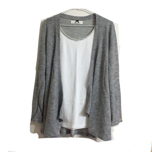 韓版灰色針織罩衫