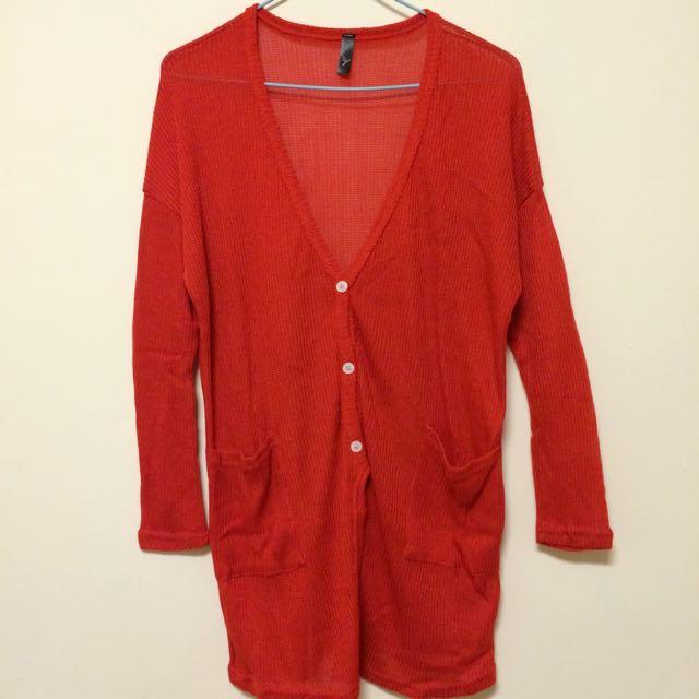全新_細針織大紅色雙口袋罩衫外套