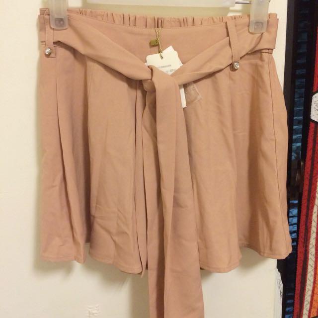 全新_專櫃藕粉色厚雪紡綁帶褲裙