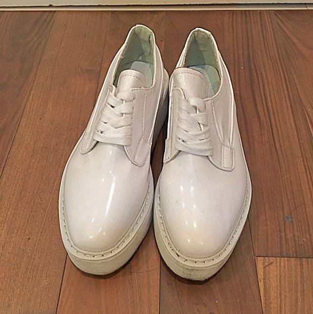 白色 厚底 休閒鞋