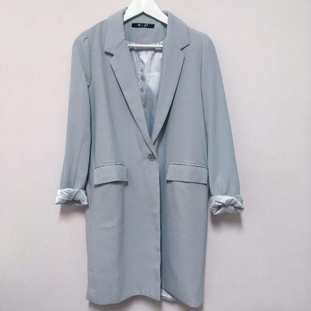 轉賣 貓咪晒月亮 單釦直版西裝外套 淺灰色 全新