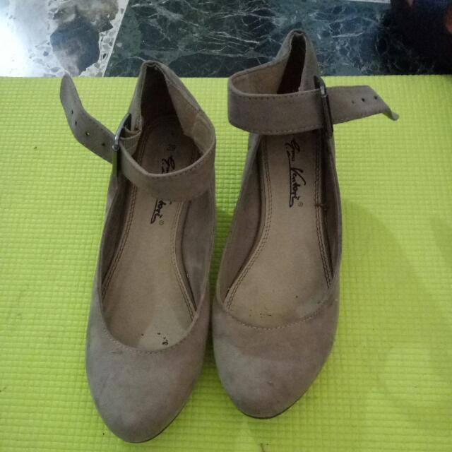 Beige Flats With Ankle Strap