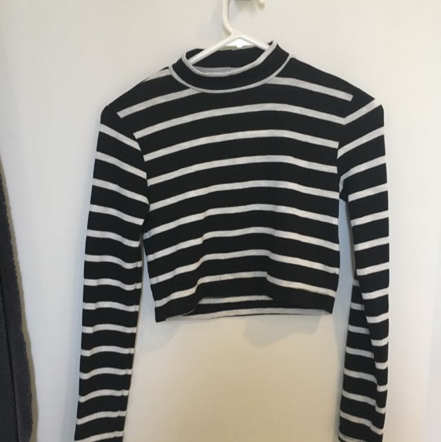 Boohoo Stripe Long Sleeve  Crop Top