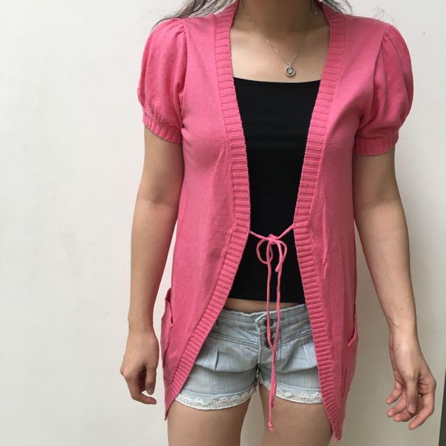 Cardigan Short Sleeve Pink Panjang