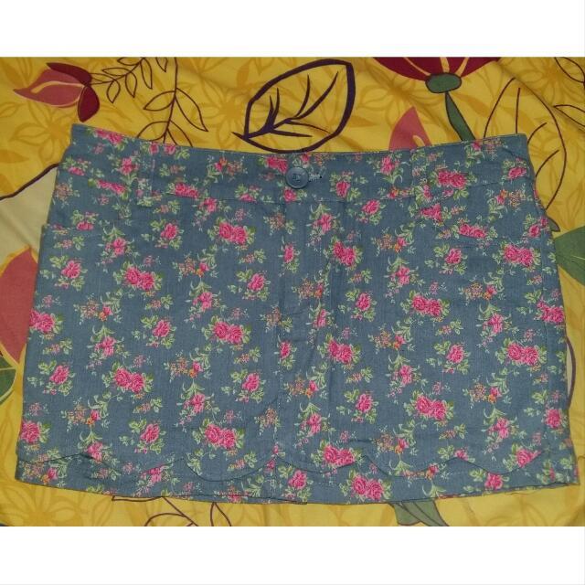 Celana Rok | Short Skirt Flower Blue Bangkok