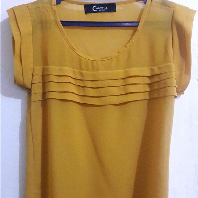 Cinderella Mustard Yellow Chiffon Blouse