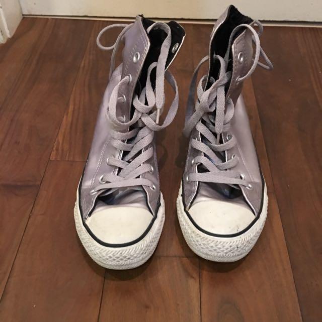 Converse銀色漆皮高筒休閒鞋