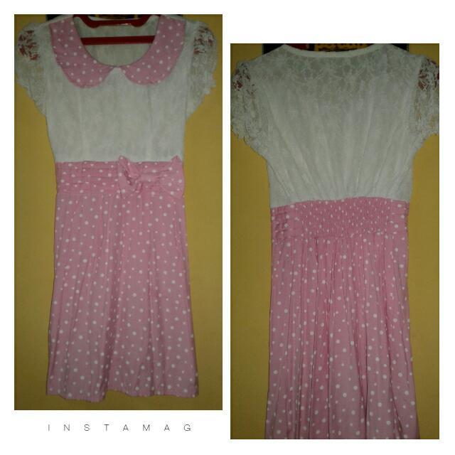 Dress Renda Polkadot Pitta Pink Putih