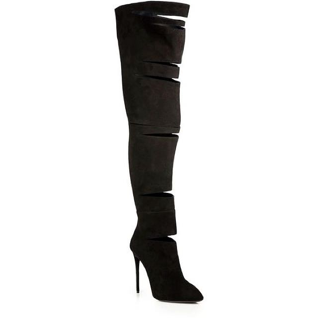 Giuseppe Zanotti Cut-Out Suede Over-The-Knee Boots
