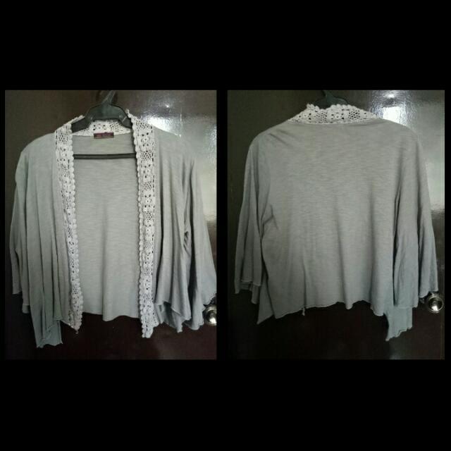 Gray Cotton Bolero/Blazer