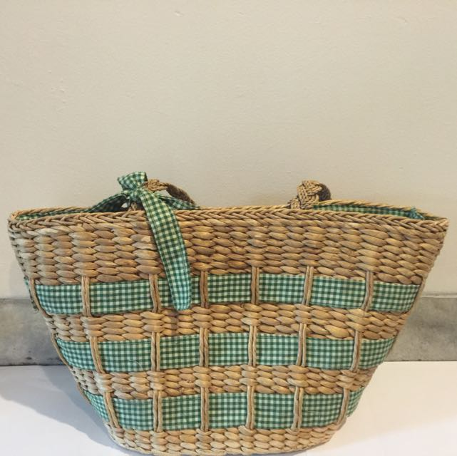 Green Rattan Synthetic Bags