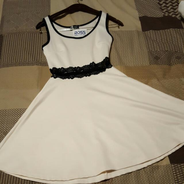 Ivory Dress With Lace Accent