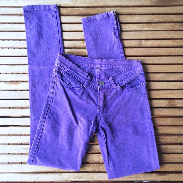 Ksubi Tsubi Purple Ankle Zip Skinny Jeans