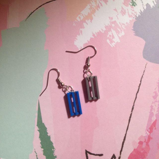 Lego Earring (Blue-Grey)
