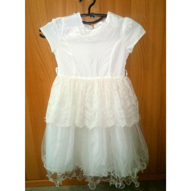 Modern Princess white Dress Kids