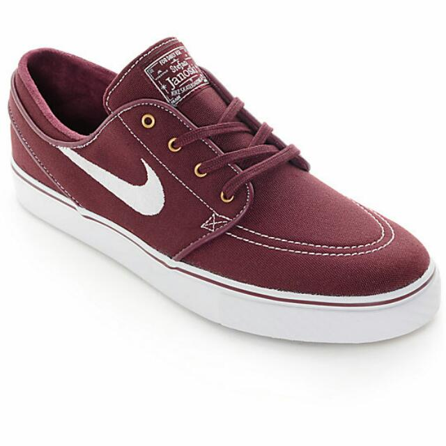 98d116bac7f Nike SB Zoom Stefan Janoski Night Maroon   White Canvas Skate Shoes