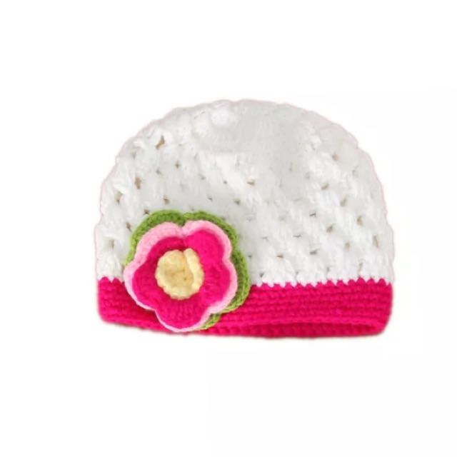 Pink & White Crochet Hat