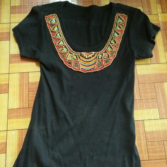 preloved beaded black shirt