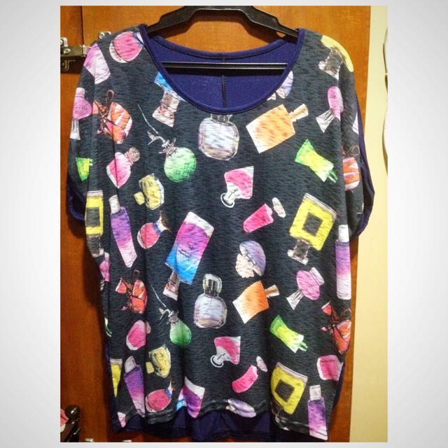 Round Neck Top With Perfume Bottles Design