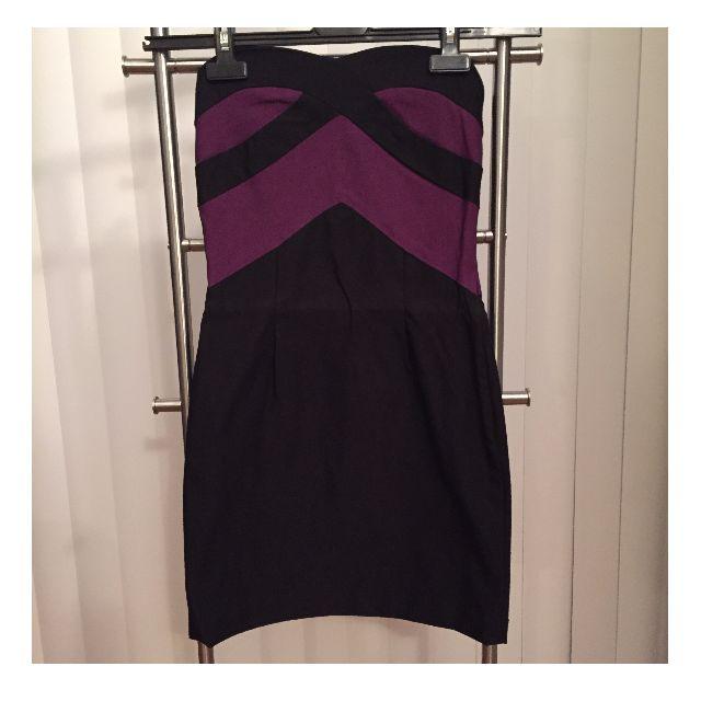 Strapless Dress (BLACK, PURPLE, SIZE S)
