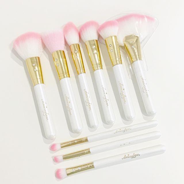SLMissGlam 9pc white glam makeup brushes