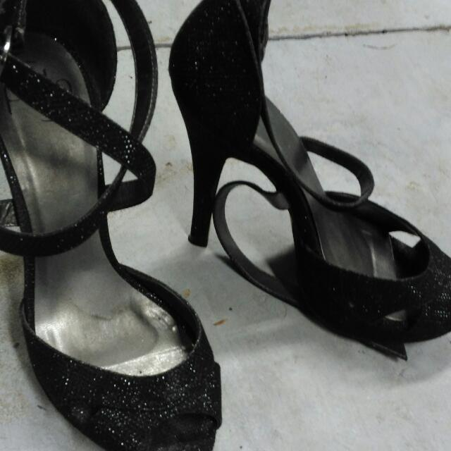 Sparkly Black Pulp Heels Size 8