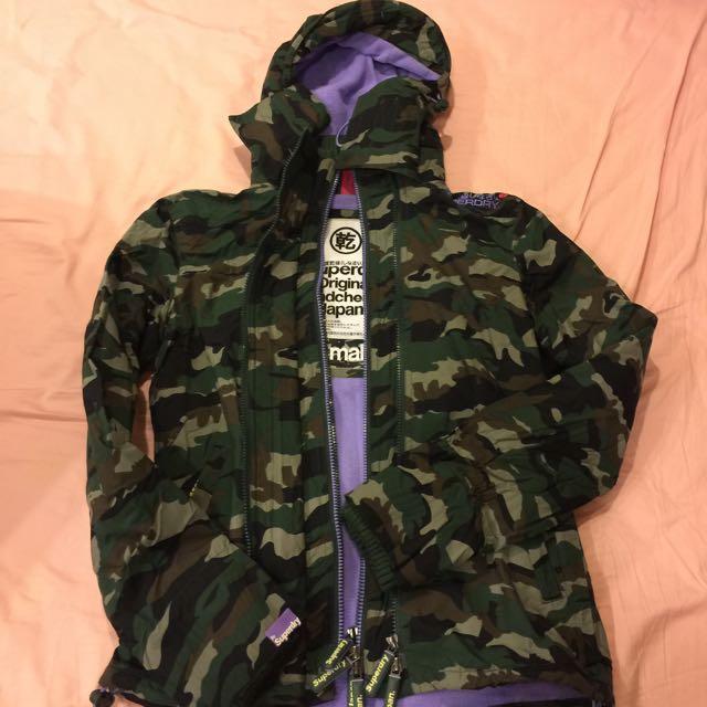 superdry s 內裡舖面 迷彩紫羅蘭 三層外套