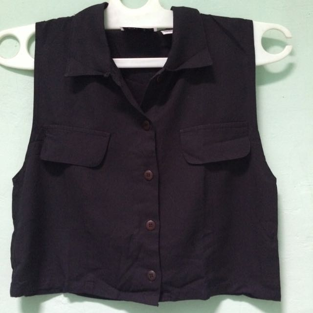 Top Crop Shirt Black