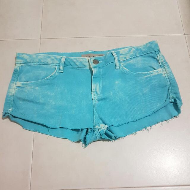 Topshop MOTO Turquoise Acid Wash Shorts UK14