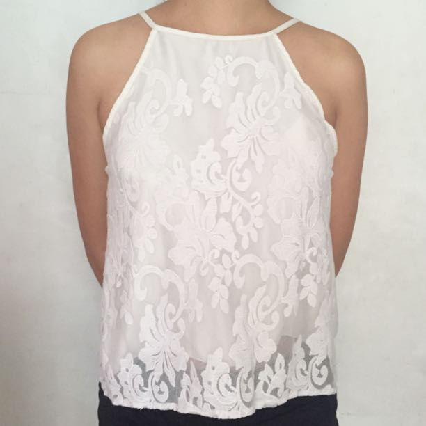 RESERVED! White Floral Halter Top
