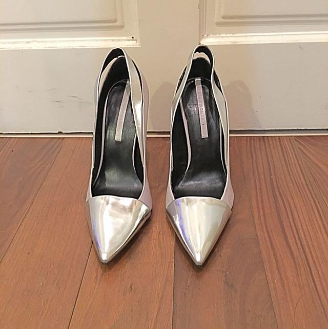 Zara銀色高跟鞋  #新春5折