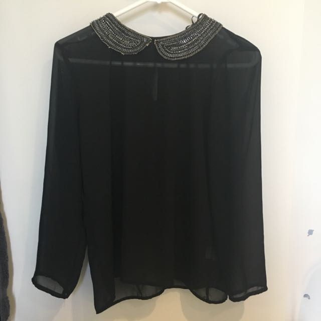 Zara Black Long Sleeve Top