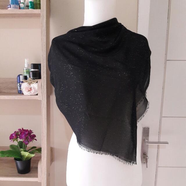 ZOYA Glittery Black Square Hijab (FREE ONGKIR)