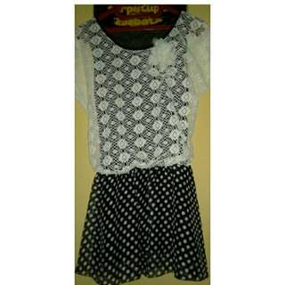Dress Polkadot Hitam Putih Renda