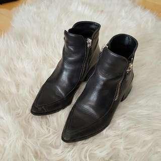 Zara Real Leather Zip Fashion Booties