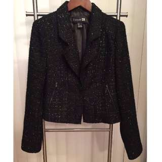 BRAND NEW Chanel-esque Jacket/Blazer with zip details (BLACK, SIZE S)