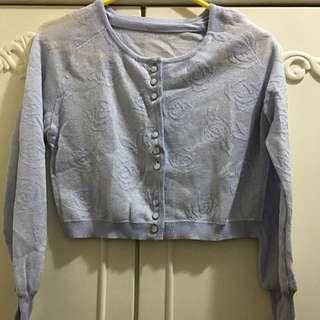 粉藍銀缐玫瑰外套