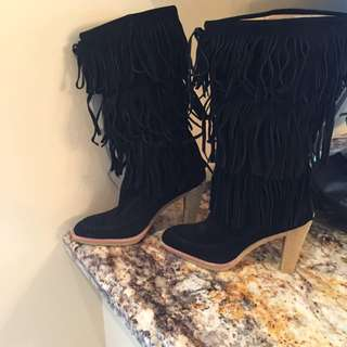 Michael Kors Fringe Boots Black 8.5M