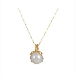 Tiffany & Co. Pearl Diamond Yellow Gold Pendant Necklace
