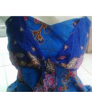 Dress Batik biru tosca