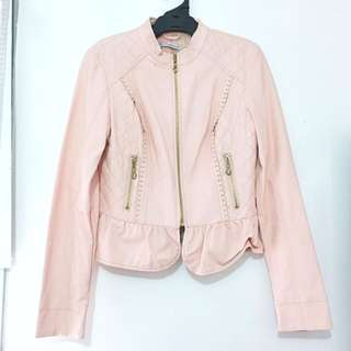 Pastel Pink Pleather Faux Leather Lace Jacket