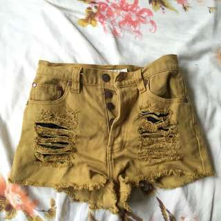 Mink Pink Distressed Mustard Denim Shorts