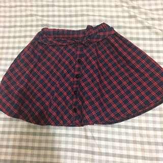 鬆緊 紅色格子褲裙