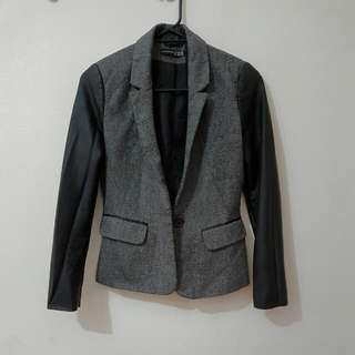 Grey Blazer With Leather Sleeves